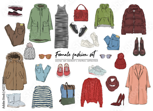 85bc7eb6dc8a Female fashion set. Hand drawnи vector set women's clothes collection.  Spring, autumn, winter outfit : dress, jeans, pants, hat, glasses, bags,  jacket, ...