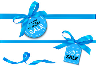 Wall Mural - Decorative horizontal blue ribbon with bow and sale tag for cyber monday sale design. Vector decoration and label isolated on white background
