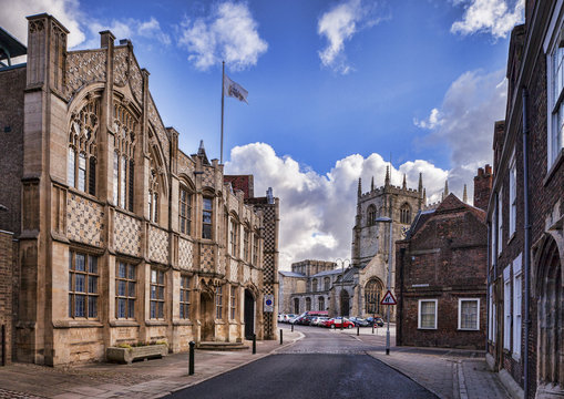 The Town Hall and Trinity Guildhall, Kings Lynn, Norfolk, England, UK, looking towards King's Lynn Minster.