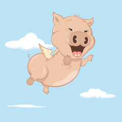 When Pigs Fly - Cute happy flying pig