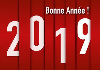 Carte de vœux 2019 graphique et design sur fond pour souhaiter la bonne année.