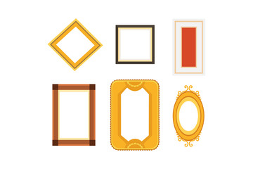 Vector frame gallery set collection. Rectangular and square art framework isolated.