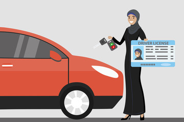 Happy Arab Girl or Saudi woman with driver license and car key in hands