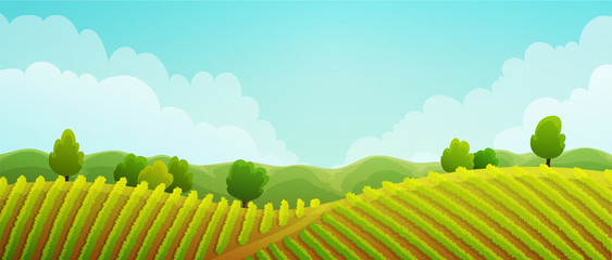 Photo sur Aluminium Bleu clair Rural landscape of vineyard. Green vines on hills with trees and mountains in background. Summer season. Vector illustration.