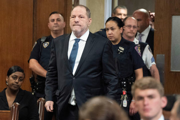 Film producer Harvey Weinstein arrives at Manhattan Criminal Court for his hearing in New York