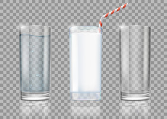 Set of drinks glasses with milk, water and empty. Templates isolated on transparent background.