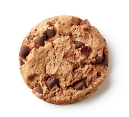 Fresh chocolate chip cookie isolated on white, from above