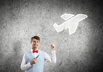 Elegant banker wearing red tie and airplane as transportation concept