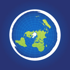 Azimuthal projection flat land on dark background
