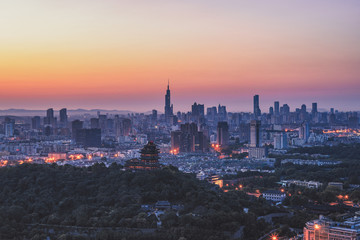 Aerial view of Nanjing city sunrise