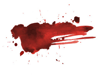 Blood splatter painted art on white for halloween design. Red dripping blood drop watercolor. Vector illustration