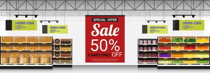 Promotion sign in modern supermarket background , vector , illustration