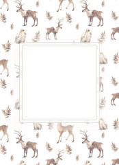 Watercolor nordic card template. Hand drawn woodland texture on white background: deers, polar owl, branches. Scandinavian style cover or invitation