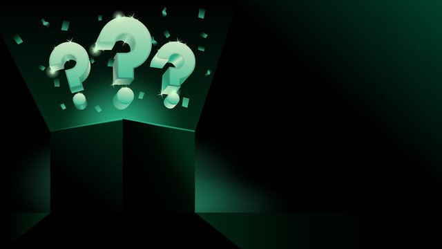glowing mystery gift box with question dark modern style banner or business presentation