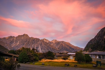 Mount Cook valley at sunset, New Zealand Fotomurales