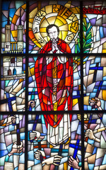 Chełm, Poland, 10 September 2018: Stained glass window with the image of the blessed priest Jerzy Popieluszko in the window of the church, the shrine of the Mother of God in Chełm