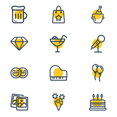 Vector illustration of 12 celebration icons line style. Editable set of mic, wine bottle, beer mug and other icon elements.