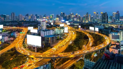 Fototapete - Time lapse of cityscape and traffic in Bangkok, Thailand.