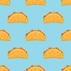 Seamless pattern with taco on blue background. Vector texture.