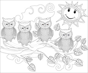 Coloring pages. Birds. Cute owl sits on the tree.