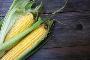 organic corn on a wooden board