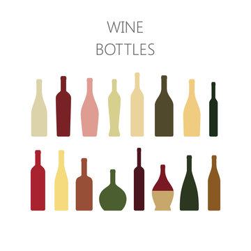 Wine bottles colorful icon set. Types of wine bottle vector illustration in color.