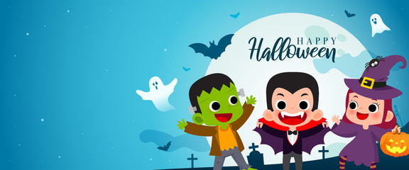 Happy Halloween banner vector illustration. Frankenstein, Count Dracula and Witch Cartoon style. Kids in Halloween costume party.