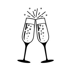 Champagne glass vector icon.