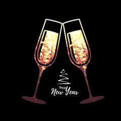 Champagne glass vector icon with golden sparkle background inside
