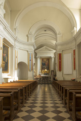 Holy Cross, Poland, September 7, 2018: Former Benedictine monastery and now the Missionary Oblates of Mary immaculate at the Holy Cross (Lysa Gora). Interior of the Basilica of the Holy Trinity