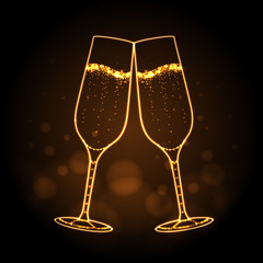 Neon sign of champage glass on gold background. Champagne silhouette
