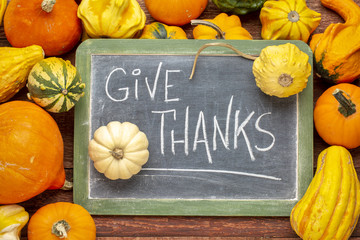 give thanks phrase on blackboard with squash and gourds