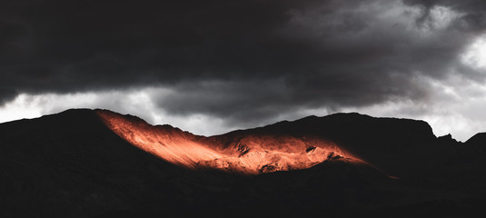 Dramatic sunset light on the Alps