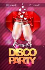 Happy valentines day disco party poster with champagne glasses.