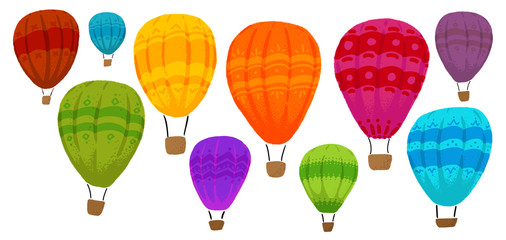 Colorful hot air balloons. Set of colored hot air balloons with different patterns. Vector illustration on white.