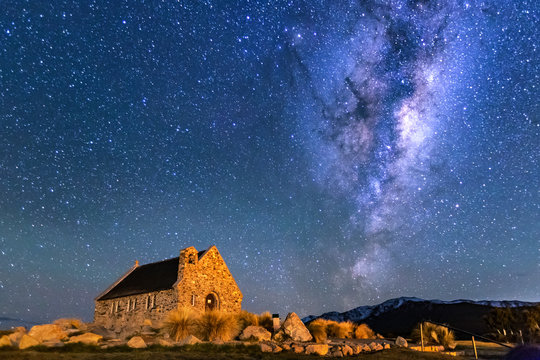 Milky way over Church of Good Shepherd, Lake Tekapo, New Zealand