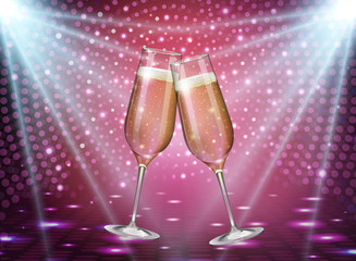Realistic vector illustration of champagne glasses on holiday pink disco background