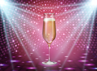 Realistic vector illustration of champagne glass on holiday blue pink background