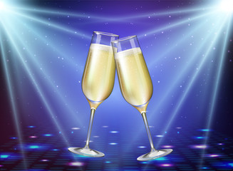 Realistic vector illustration of champagne glasses on holiday blue disco background