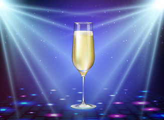 Realistic vector illustration of champagne glass on holiday blue disco background