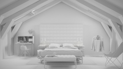 Total white project of contemporary gray bedroom in luxury attic, bed and carpet, classic interior design