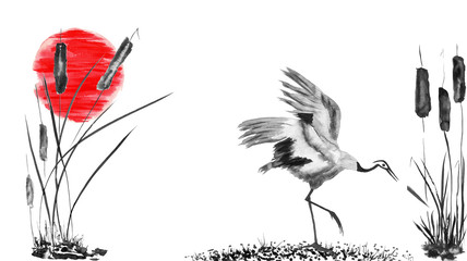 Japanese crane bird drawing and red sun.  Watercolor and ink illustration in style sumi-e, u-sin, go-hua Oriental traditional painting. Isolated .
