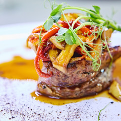 Delicious beef steak with vegetables. Shallow dof.