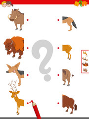 join halves of animal pictures educational game
