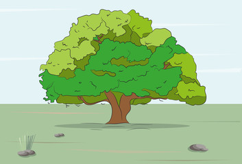 tree stands on nature colored drawing