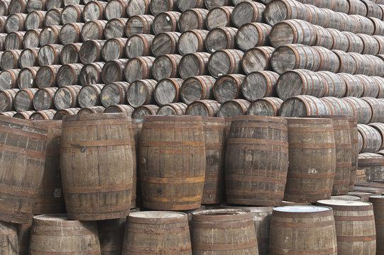 Stack of whisky casks