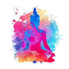 Buddha over watercolor background. Vector illustration. Vintage decorative composition. Indian, Buddhism, Spiritual motifs.