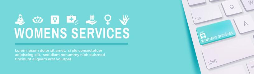 Women's Health Services Icon Set Web Header Banner - Abstract Design OBGYN / Salon Set