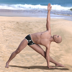 Bald man in black briefs practising the triangle or trikonasana yoga pose on a sandy beach. Square 3d render.