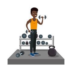young black athlete boy lifting dumbbells
